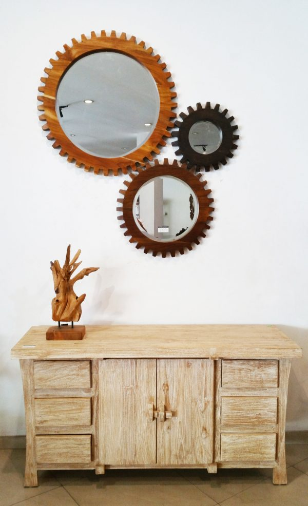 Rustic Whitewash buffet Table with Gear Mirror