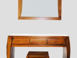 Modern Rectangular Console Table with Mirror